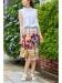 花×チェックパネルスカート