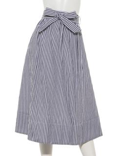 共生地ベルト付き/ストライプギャザーフレアースカート