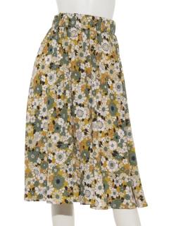 レトロ花柄ギャザーミモレ丈スカート