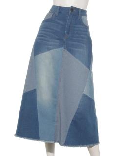 パッチワークロングデニムスカート
