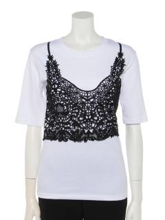 カギ編みレースキャミドッキングTシャツ