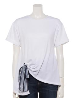 裾タックリボン使いTシャツプルオーバー