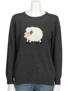 羊モチーフ ニットプルオーバー