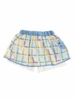 【petit jam】3時のチェック柄ペチパン付きスカート