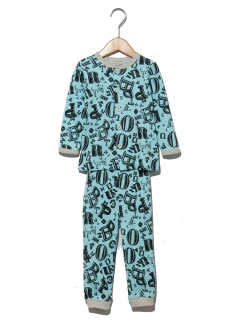 【ampersand】Boy'sロゴ総柄前開きパジャマ