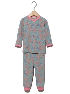 【ampersand】Girl's花総柄前開きパジャマ