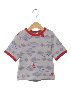 【BIT'Z】波柄ジャガード5分袖Tシャツ