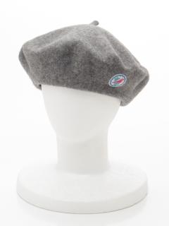 鳥ワッペン付きフェルトベレー帽