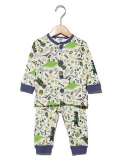 ダイナソー柄前開きパジャマ