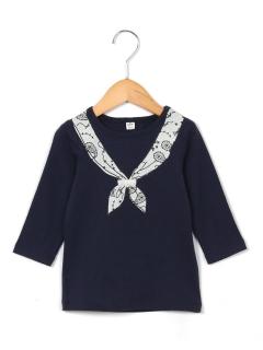 7分袖スカーフモチーフTシャツ
