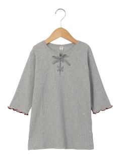 編み上げ5分袖Tシャツ