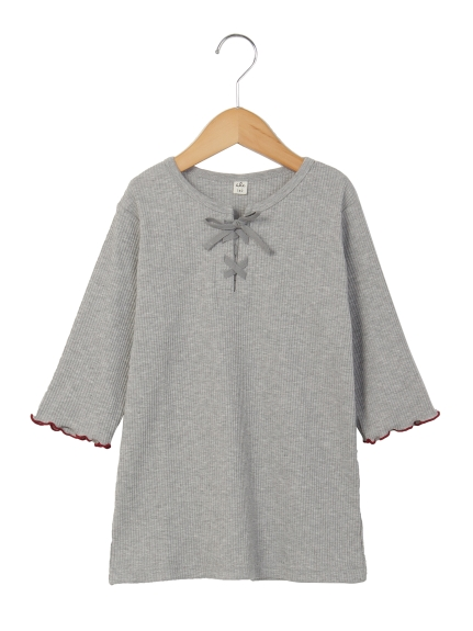 30%OFF F.O.FACTORY (エフ・オー・ファクトリー) 編み上げ5分袖Tシャツ グレー