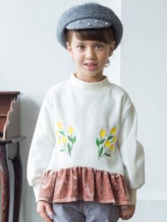 裾フリル刺繍トレーナー