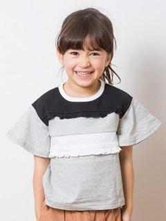 袖フレア切替フリルTシャツ