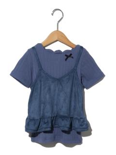 apres les cours衿スカラップTシャツ+ベロアキャミソールセット