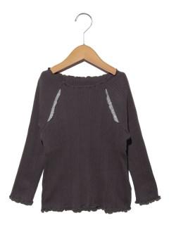リブ編み7分袖ラグランТシャツ