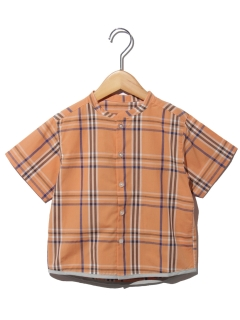 ノーカラーチェックシャツ