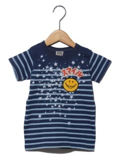 インディゴパネルボーダーTシャツ