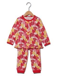 Girl'sハート柄前開き長袖パジャマ
