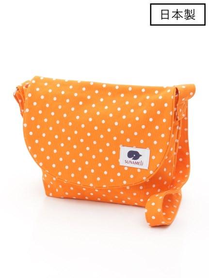 67%OFF SUNAMELi (スナメリ) 【日本製】ドットキャンバスフラップショルダーバッグ オレンジ