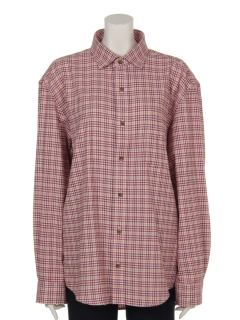 YUMI KATSURA撚り杢ミニチェックワイドカラーシャツ