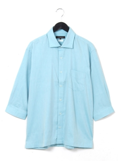 綿二重織7分袖ワイドカラーシャツ