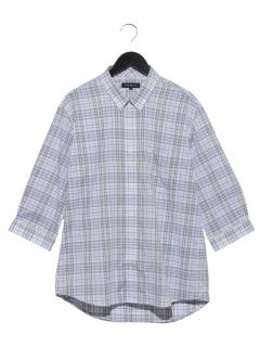 ドビーチェック七分袖ショートBDシャツ