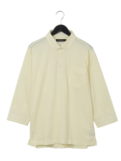 綿ポリピケショートBD七分袖シャツ
