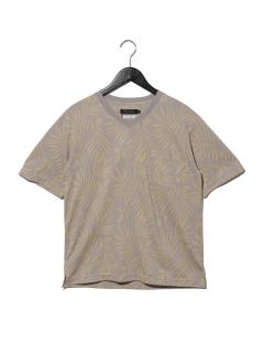 綿ポリボタニカル柄ジャガードVTシャツ