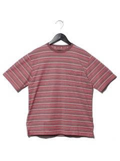綿ポリメクラジマボーダークルーシャツ