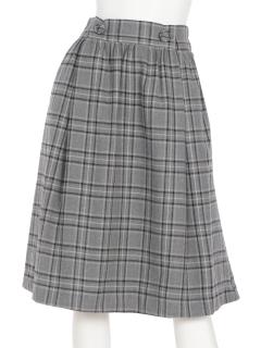 チェックギャザーフレアースカート