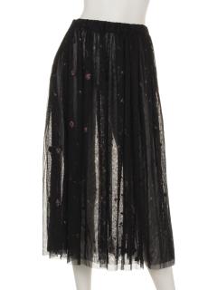 花柄刺繍チュールスカート