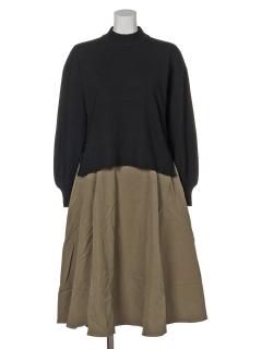 SET2点 ボリュームスリーブニット+スカート