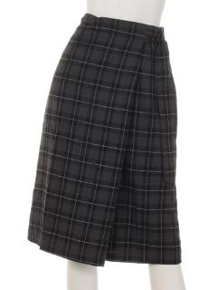 ネップラインチェックラップ風スカート