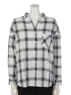 チェック抜き衿シャツ