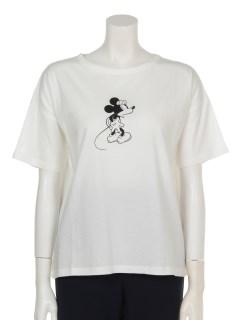 mickey/earth ドロップショルダーTシャツ