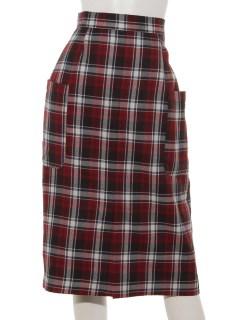 前ポケットチェックナロースカート
