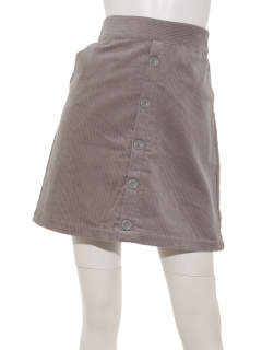 前ボタンコーデュロイ台形スカート
