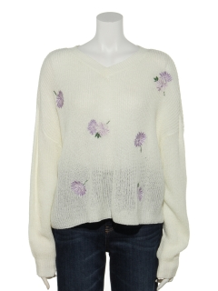 花刺繍畦ニットプルオーバー