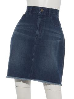 裾フリンジデニムミニスカート