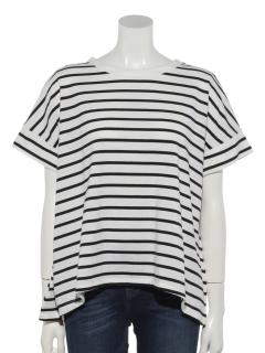 ボーダーバックギャザーTシャツ