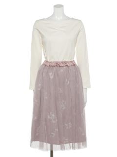 SET2点 テレコプルオーバー+花柄チュールスカート