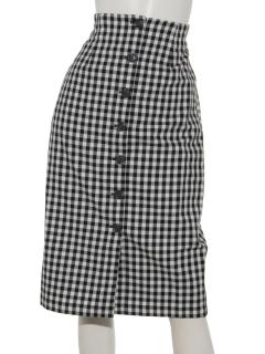 前ボタンギンガムチェックタイトスカート