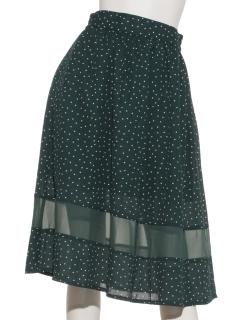 裾切り替えドットスカート