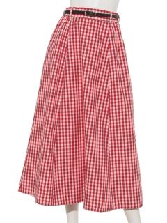 ベルト付きフレアーギンガムスカート