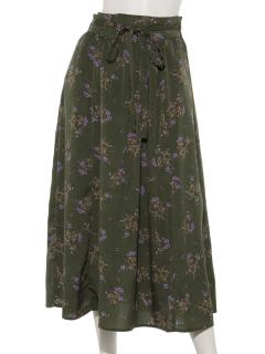 細ベルト付き花柄ギャザースカート