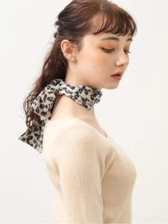 レオパード柄ナロースカーフ