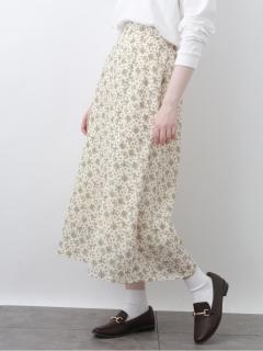 花柄セミAラインスカート