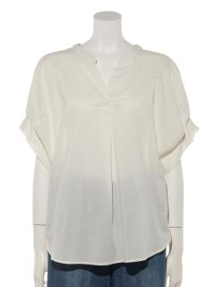 涼しくなるコットンブレンド袖タックシャツ
