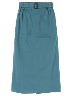 ・ベルト付きナローミモレスカート